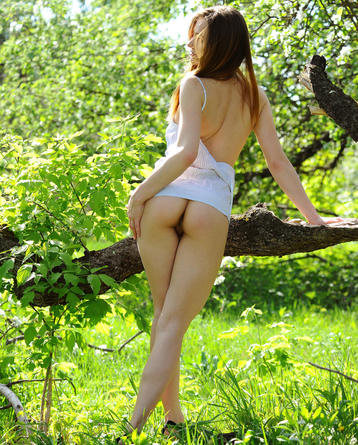 Brunette Girl Undressing Naked Outdoor