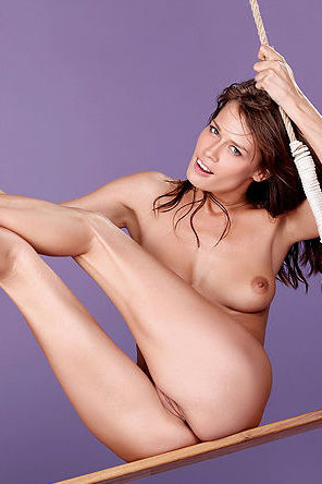 Sexy Brunette Swinging Naked