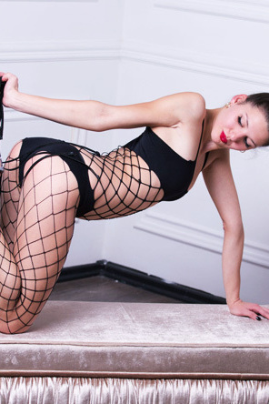 Abigail In Sexy Black Fishnet