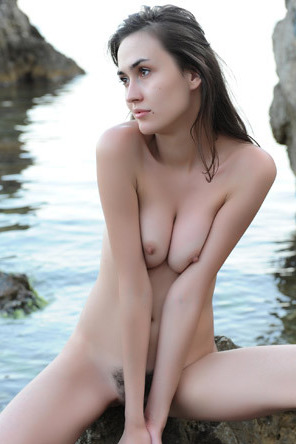 Hot Teen With Hairy Pussy Strips By The Rocks