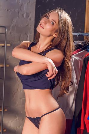 Sexy Ukrainian Brunette Pulls The Dress